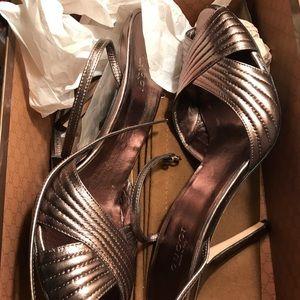 Metallic Gucci Strappy Stiletto Sandal